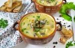Сырный суп с грибами и копченостями
