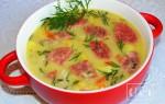 Как готовить суп с копченой колбасой и сыром