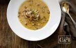 Грибной суп с копченостями