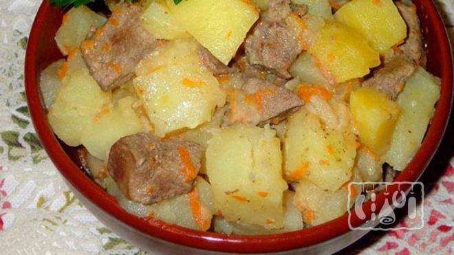 Картошка с копченой курицей