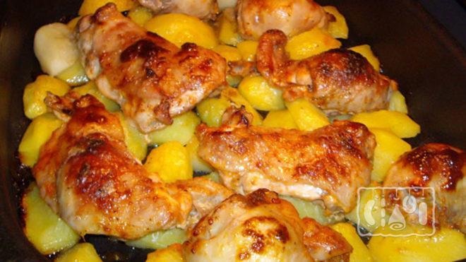 Копченая курица с картошкой