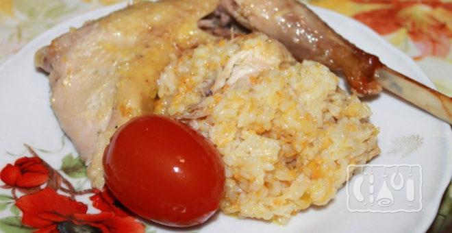 Копченая утка с рисом