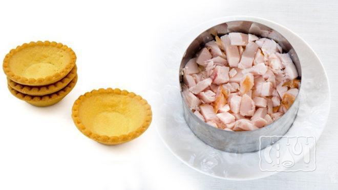 Тарталетки и копченая курица