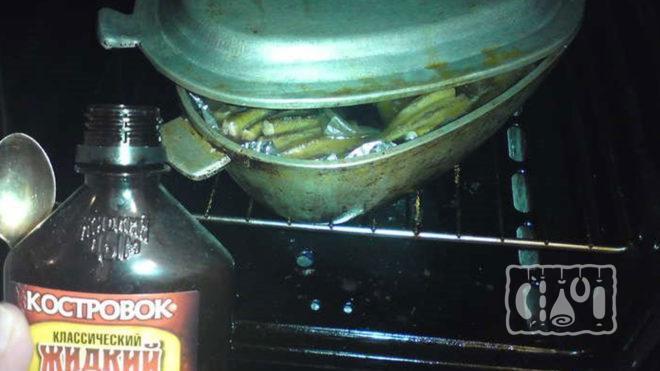 Копчение салаки в духовке