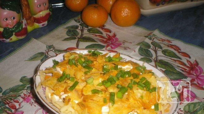 Рецепт салата сыра с чипсами