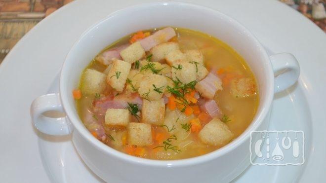 Рецепт горохового супа пюре с копченостями