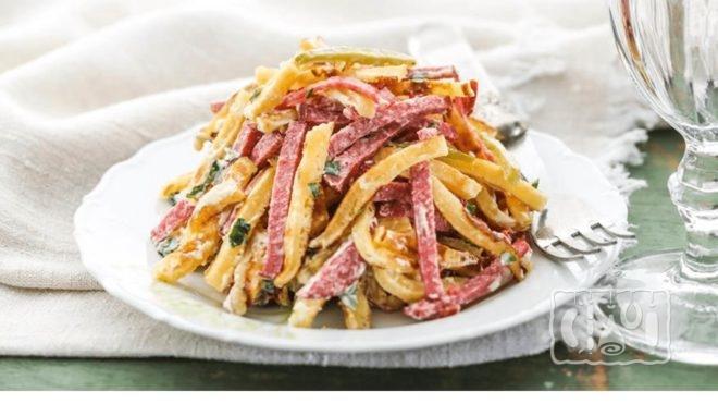 Рецепты приготовления салата с блинами и копченой колбасой