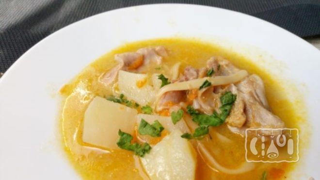 Рецепт супа с копченой колбасой и вермишелью