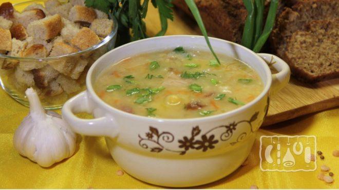 Рецепт горохового супа с копчёными куриными бёдрами