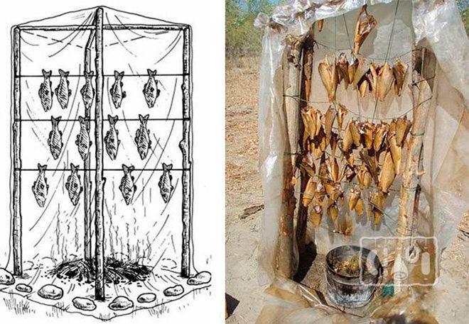 Рисунок и фото коптильни холодного копчения из полиэтилена