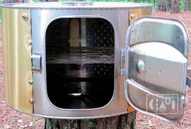 Внешний вид коптильни горячего копчения из стиральной машины