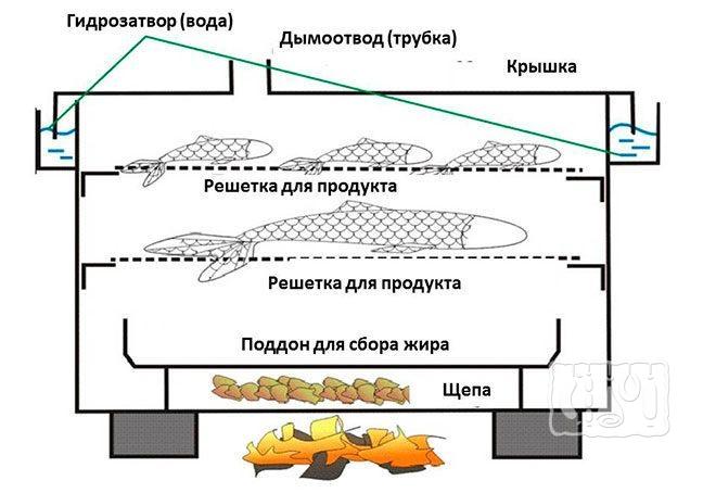 Составляющие коптильни горячего копчения с гидрозатвором