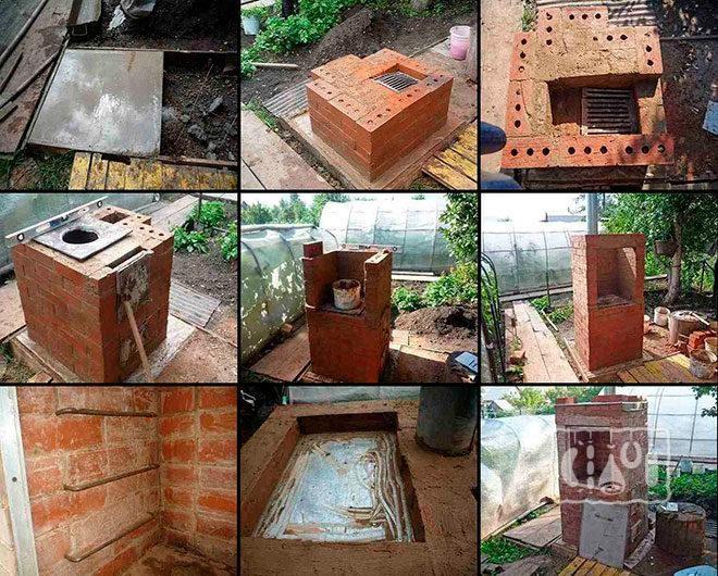 Пошаговое фото строительства коптильни с порядковой кладкой кирпича