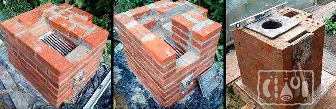 Топка коптильни из кирпича на разных этапах постройки