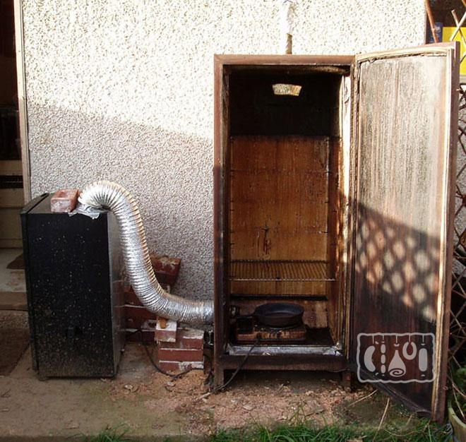 Фото коптильни из старого холодильника