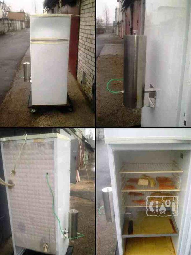 Фото коптильни из холодильника с дымогенератором