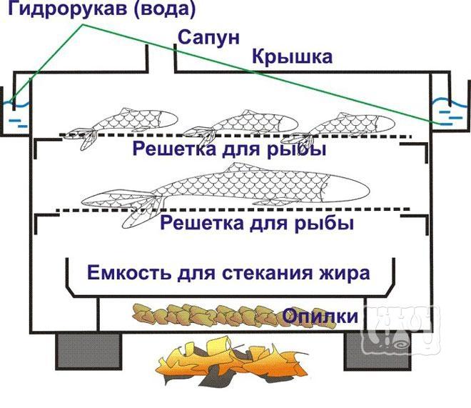 Фото схемы коптильного аппарата с гидрозатвором
